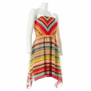 NEW RUBY ROX Striped Asymmetrical Dress